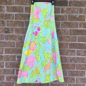 Lilly Pulitzer Strapless Dress Vtg Jungle Print